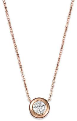 """Roberto Coin 18K Rose Gold and Diamond Bezel Necklace, 16"""""""