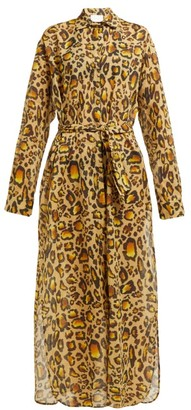 Marios Schwab On The Island By Balos Leopard Print Cotton Shirtdress - Womens - Leopard