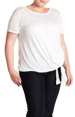 Susina Burn Out Tie Front Tee (Plus Size)