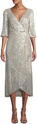 Rachel Gilbert Sequined Wrap-Front Midi Dress