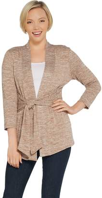 Halston H By H by Knit Sleeve Tie Front Cardigan