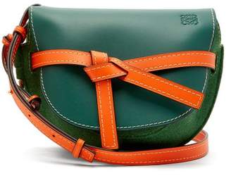 Loewe Gate Small Leather And Felt Cross Body Bag - Womens - Green Multi