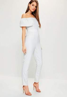 White Crepe Frill Bardot Sleeve Romper $67 thestylecure.com