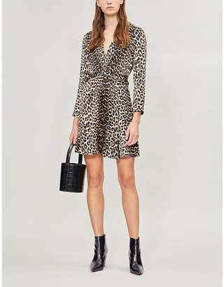 Ganni Black and Brown Leopard Print Leo Satin Dress
