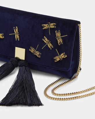 Ted Baker KASIA Embellished velvet tassel clutch