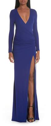 Galvan Slit Hem Ruched Jersey Maxi Dress