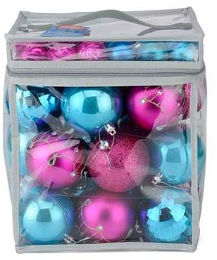 Christow 63 Luxury Christmas Baubles In Pvc Bag - Pink & Blue