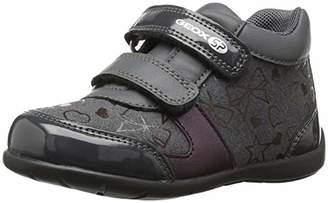 Geox Elthan Girl 1 High Top Velcro Shoe Sneaker Grey/Dark Pink