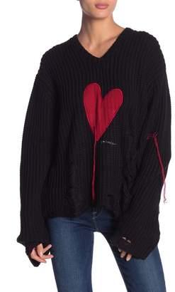 Peace Love World Graziella Heart Stitched Knit Sweater