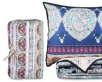 California Design Den by NMK King Summer Dream Handcrafted Cotton Quilt Set - Blue