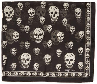 Alexander McQueen Black and Off-White Silk Skull Scarf
