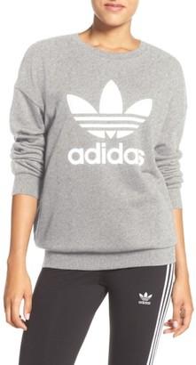 Women's Adidas Originals Trefoil Crewneck Sweatshirt $55 thestylecure.com