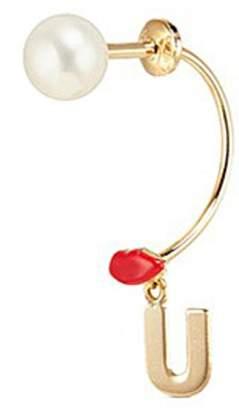 Delfina Delettrez 'ABC Micro Lips Piercing' freshwater pearl 18k yellow gold single earring - U