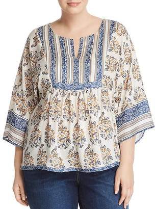 Lucky Brand Plus Mixed Print Peasant Top