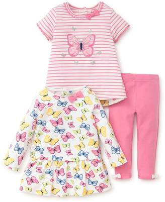Little Me Baby Girl's Three-Piece Butterfly Printed Top, Tunic and Pants Set