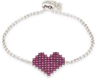 Apm Monaco Silver Pixel Red Heart Bracelet