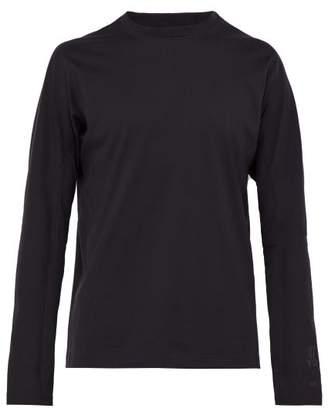 Y-3 Y 3 Logo Print Long Sleeved Cotton T Shirt - Mens - Black