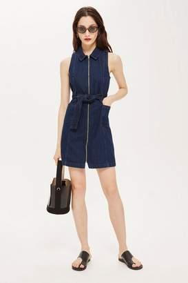 Topshop Zip-Up Denim Dress