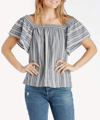 Sole Society Charcoal Stripe Ruffle Sleeve Blouse
