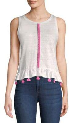 Generation Love Ruby Brocade-Trim Linen Tank Top