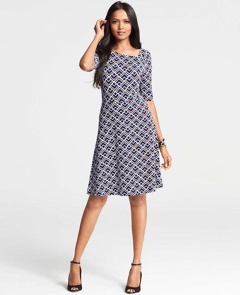 Ann Taylor Petite Diamond Geo Print Asymmetric Neck Dress