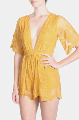 Honey Punch Marigold Butterfly Romper