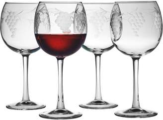 Susquehanna Glass Co. Sonoma Ballon Stemless Wine Glasses (Set of 4) - Clear With Hand-cut Pattern