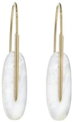 Rachel Atherley Small Moonstone Feather Earrings - Yellow Gold