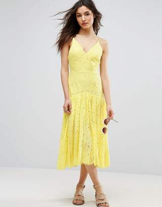 Asos Design Lace Drop Waist Midi Dress
