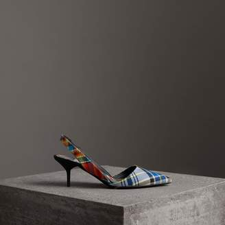 Burberry Tartan Cotton Slingback Pumps