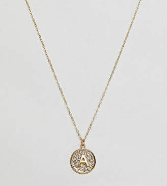 Ottoman Hands gold plated A initial pendant necklace