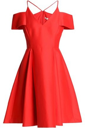 Halston Cold-Shoulder Cotton And Silk-Blend Dress