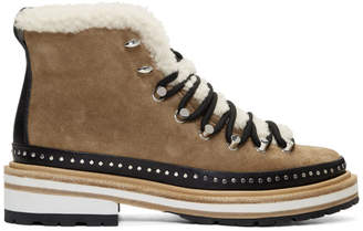 Rag & Bone Tan Suede and Shearling Compass Boots