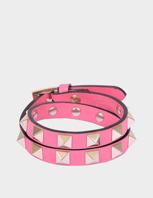 Valentino Rockstud Double Rows Bracelet or Choker Necklace in Shadow Pink Calfskin