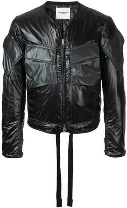 Takahiromiyashita The Soloist collarless bomber jacket with tie fastening
