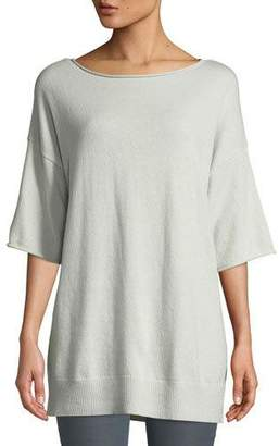 Lafayette 148 New York Cashmere Relaxed Short-Sleeve Pullover, Plus Size