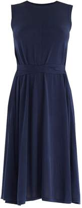 PAISIE - Knitted Sleeveless Trapeze Dress with Side Ties in Navy