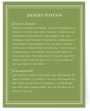Country Club Directions Cards