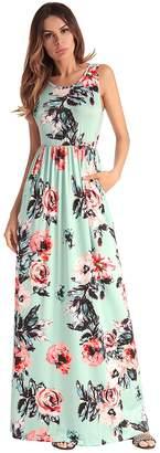 Ruiyige Women's Elegant Floral Short Sleeve Summer Beach Midi Maxi Dresses White M