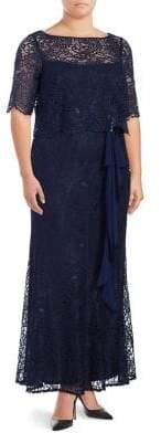 Brianna Plus Short Sleeve Lace Overlay Dress