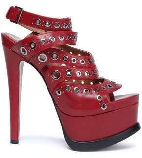 Alaia Eyelet-embellished Leather Platform Sandals