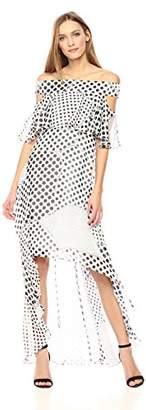 Wild Meadow Women's Off The Shoulder High Low Maxi Dress with Bodice Ruffle S Blk & WHT Dots
