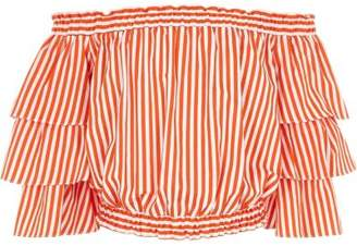River Island Girls orange stripe frill bardot top