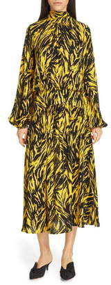 N°21 N21 Zebra Print Long Sleeve Midi Dress