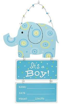 Burton Elephant Wooden Wall Hanging Blue It's a Boy! with Birth Statistics by &