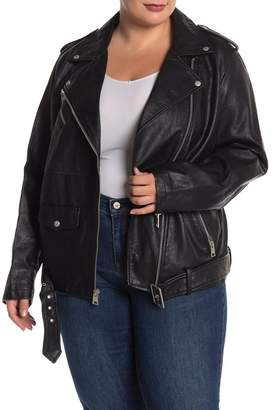 Levi's Faux Leather Oversized Long Moto Jacket (Plus Size)