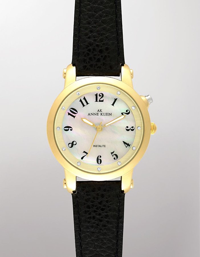 Ak Anne klein Black Mother-of-Pearl Round-Dial Leather Watch