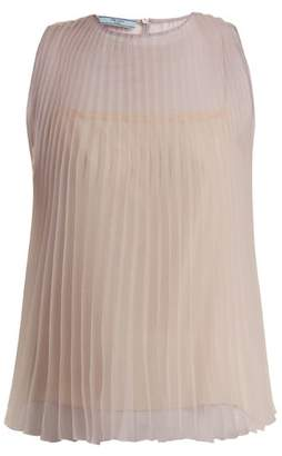 Prada Cigaline Pleated Top - Womens - Light Purple