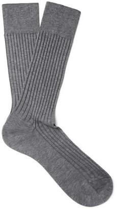 Pantherella Danvers Ribbed Mercerised Cotton-Blend Socks