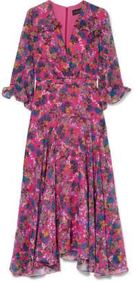 Saloni Edith Ruffled Floral-print Silk-chiffon Midi Dress - Pink